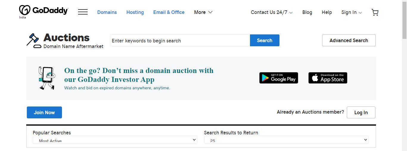 godaddy domain auction